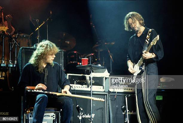 Eric Clapton and Jeff Healey on 8/25/90 in East Troy, WI.