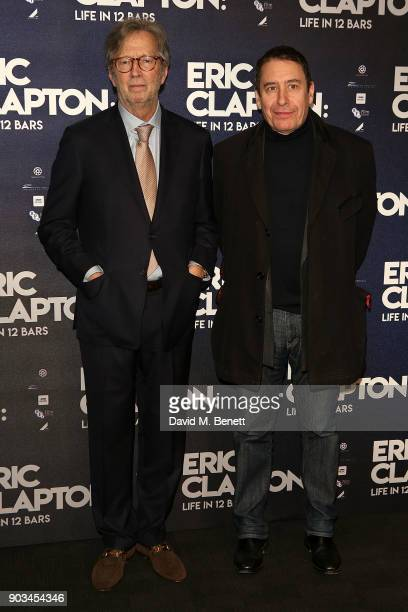 Eric Clapton and Jools Holland attend the UK Premiere of 'Eric Clapton Life In 12 Bars' at BFI Southbank on January 10 2018 in London England