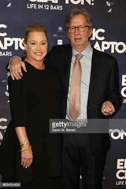 Eric Clapton and Lili Fini Zanuck attend the UK Premiere of 'Eric Clapton Life In 12 Bars' at BFI Southbank on January 10 2018 in London England