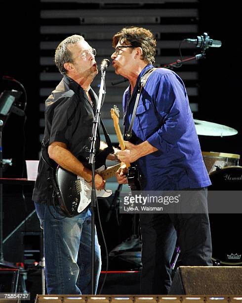 Eric Clapton and Robbie Robertson perform at Eric Clapton's Crossroads Guitar Festival 2007 to benefit the Crossroads Centre in Antigua July 28, 2007...