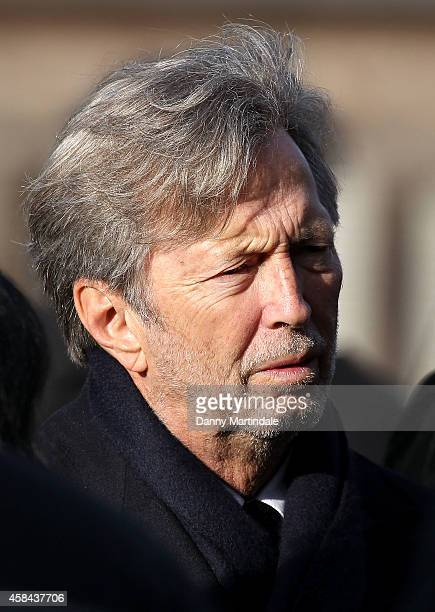 Eric Clapton attends the funeral of Jack Bruce at Golders Green Crematorium on November 5 2014 in London England