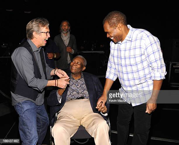 Eric Clapton BB King and Robert Cray backstage during the 2013 Crossroads Guitar Festival at Madison Square Garden on April 12 2013 in New York City