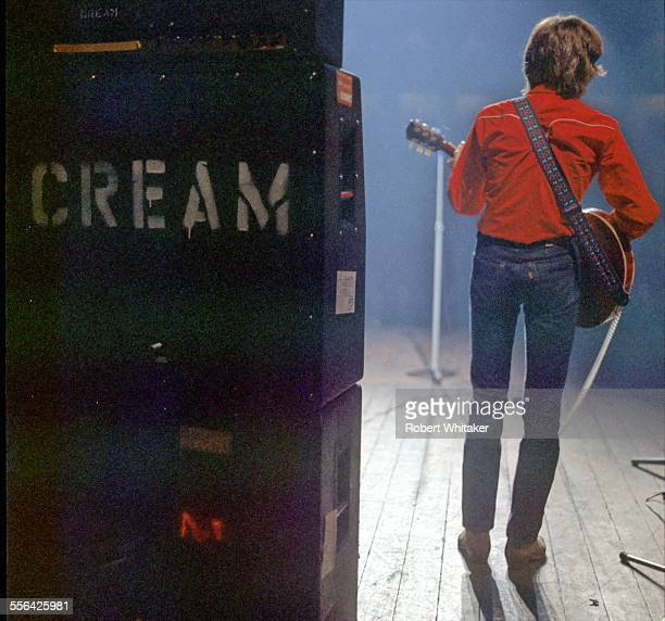 Eric Clapton is pictured performing at Cream's farewell concert at the Royal Albert Hall. November 1968.