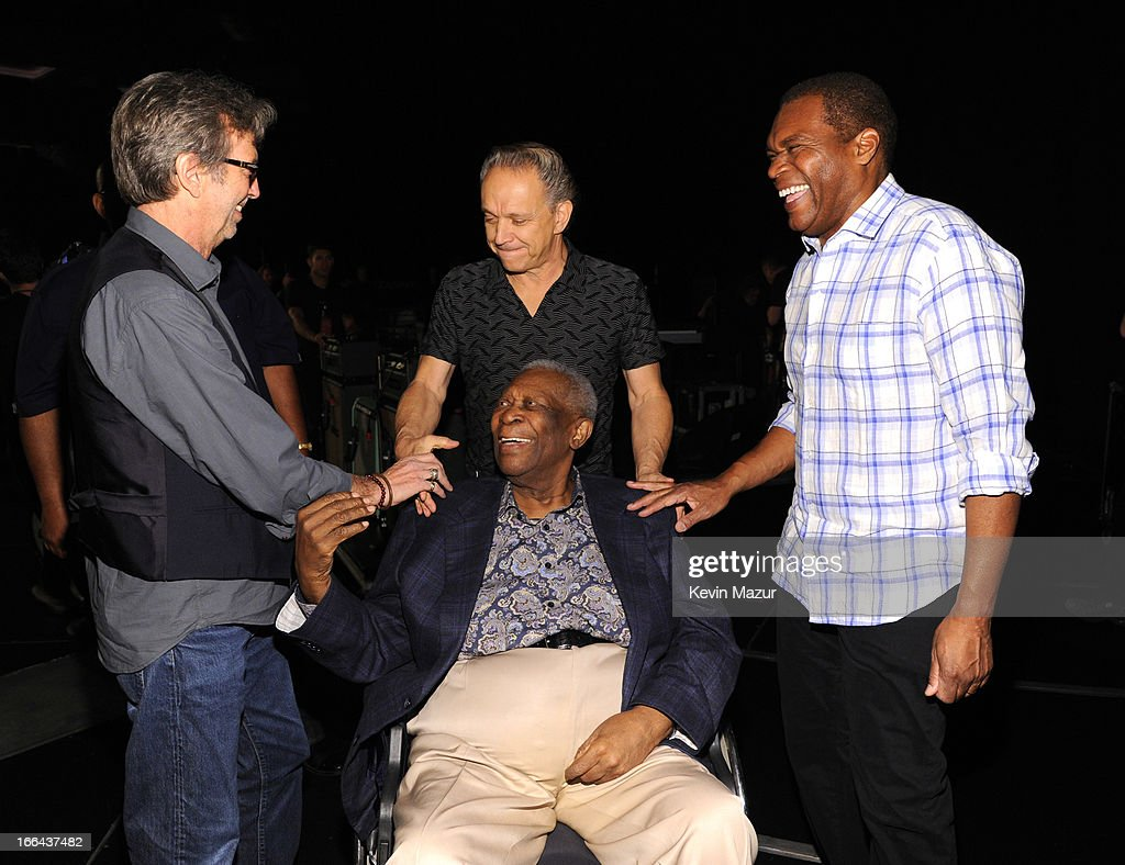 Eric Clapton, Jimmie Vaughan, BB King and Robert Cray backstage during the 2013 Crossroads Guitar Festival at Madison Square Garden on April 12, 2013 in New York City.