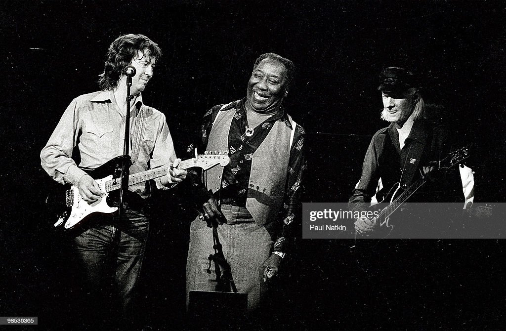 Eric Clapton, Muddy Waters and Johnny Winter on 6/12/79 in Chicago, Il.