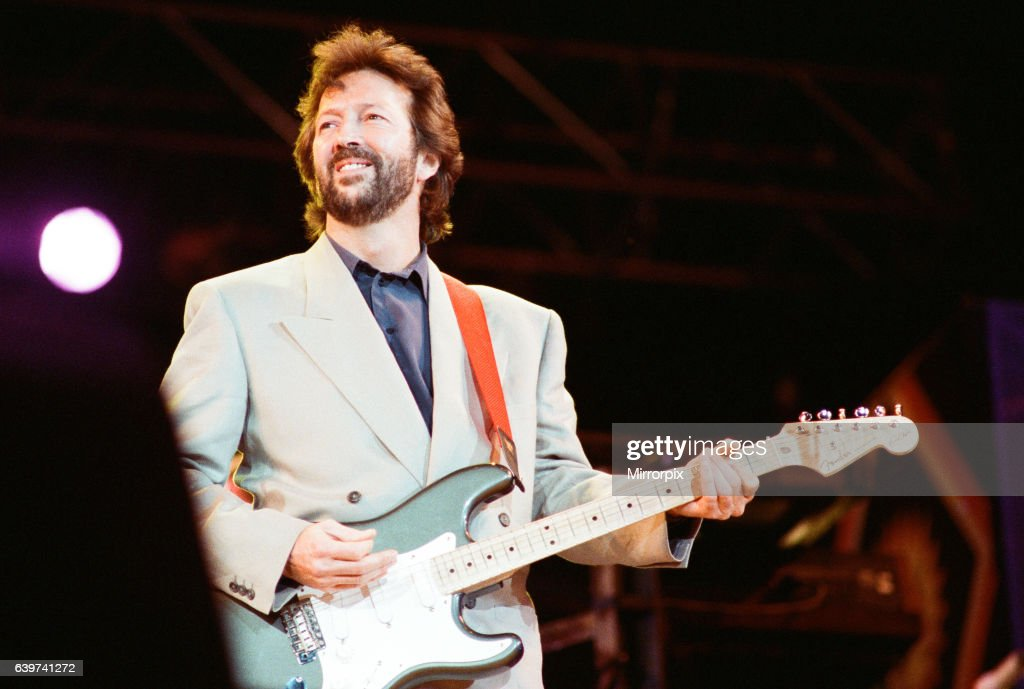 Eric Clapton on stage at Nelson Mandela 70th Birthday Tribute Concert, Wembley Stadium, London, 11th June 1988 : News Photo