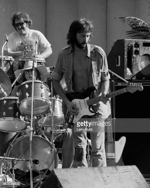 Eric Clapton performing at the Frost Amphitheatre at the University of Stanford on August 6 1975 in Stanford California Photo by Larry Hulst/Michael...