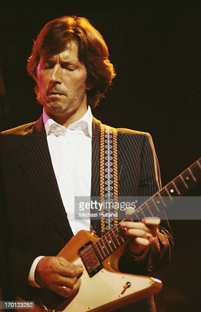 Eric Clapton performing on stage circa 1982