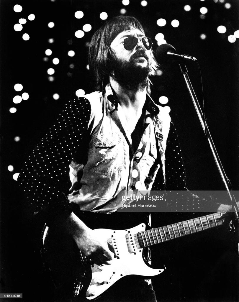 Eric Clapton performs live on stage at Ahoy, Rotterdam on November 30 1974 during his 461 Ocean Boulevard European Tour