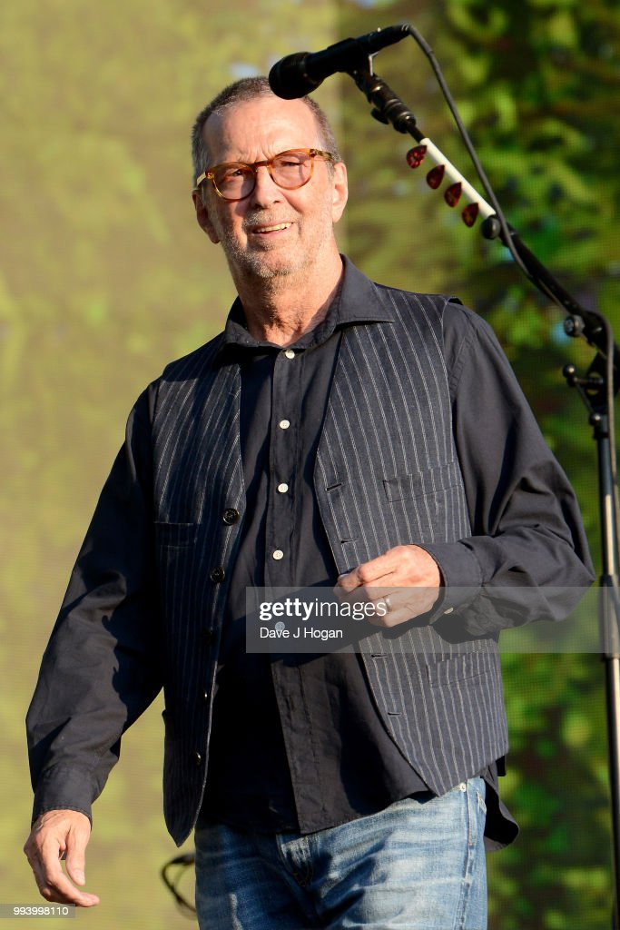 Eric Clapton performs on stage as Barclaycard present British Summer Time Hyde Park at Hyde Park on July 8, 2018 in London, England.