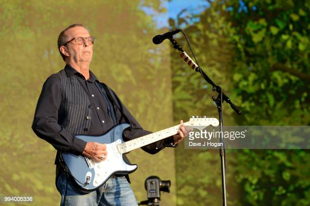 Eric Clapton performs on stage as Barclaycard present British Summer Time Hyde Park at Hyde Park on July 8 2018 in London England