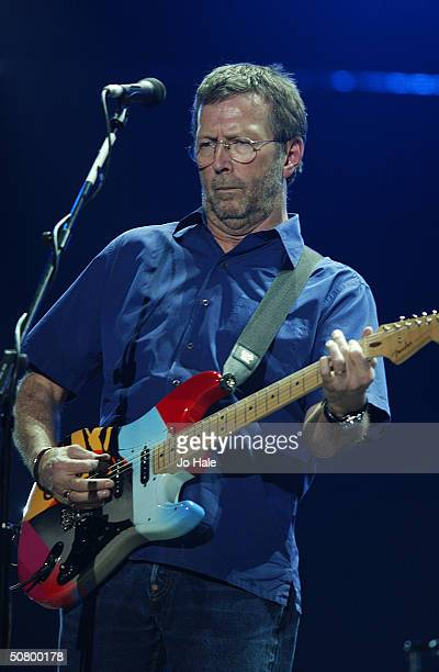 Eric Clapton performs on stage at the first of his London run of shows at the Royal Albert Hall on May 4 2004 in London