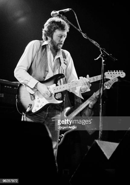 Eric Clapton performs on stage at the Forum on October 15th 1981 in Copenhagen Denmark He plays his Fender Stratocaster guitar 'Brownie'