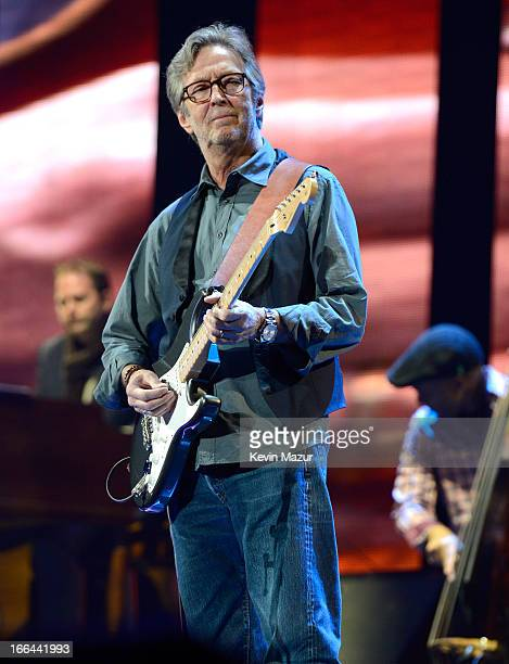 Eric Clapton performs on stage during the 2013 Crossroads Guitar Festival at Madison Square Garden on April 12 2013 in New York City