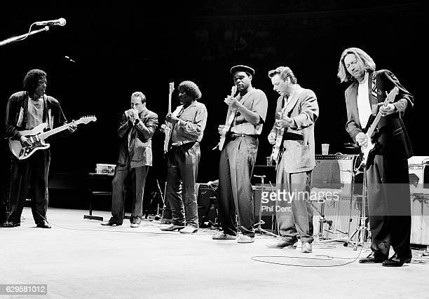 Eric Clapton performs on stage with blues musicians at the Royal Albert Hall London 1991 LR Buddy Guy Jerry Portnoy Albert Collins Robert Cray Jimmie...