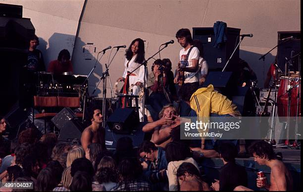 Eric Clapton performs on stage with Yvonne Elliman at Crystal Palace Bowl London 31st July 1976