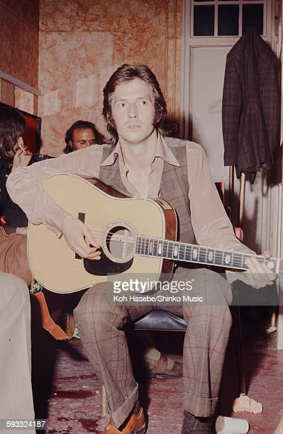 Eric Clapton plays acoustic guitar at waiting room of London The Lyceum Theatre Derek and the Dominos debut concert London June 14 1970