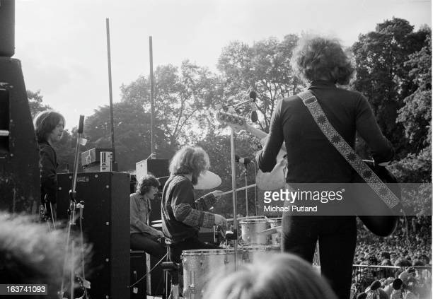 Eric Clapton Steve Winwood Ginger Baker and Rick Grech of English supergroup Blind Faith performing on stage in Hyde Park London 7th June 1969
