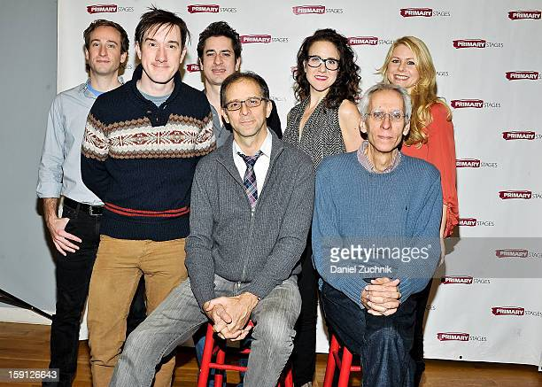 Eric Clem Carson Elrod Matthew Saldivar John Rando Jenn Harris David Ives and Liv Rooth attend the All In The Timing press preview at Primary Stages...