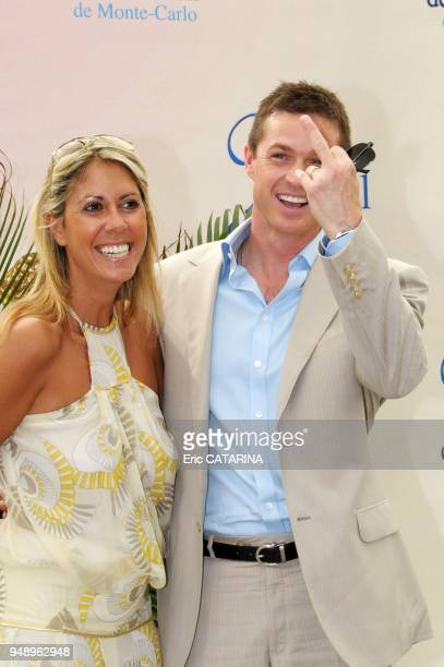 Eric Close poses for the picture with TV presenter Rachel Bourlier one of his fans
