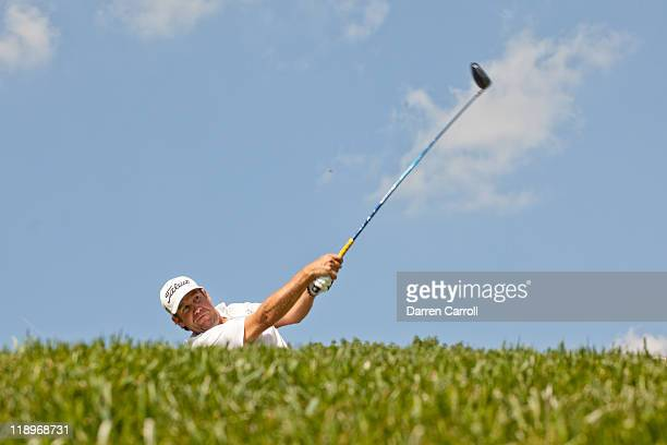 Eric Compton hits a shot during the first round of the ATT National at Aronimink Golf Club in Newtown Square Pennsylvania on June 30 2011