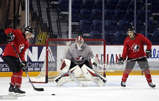 Eric Comrie keeps his eye on the puck during the Canada National Junior Team practice at the Meridian Centre on December 15 2014 in St Catharines...