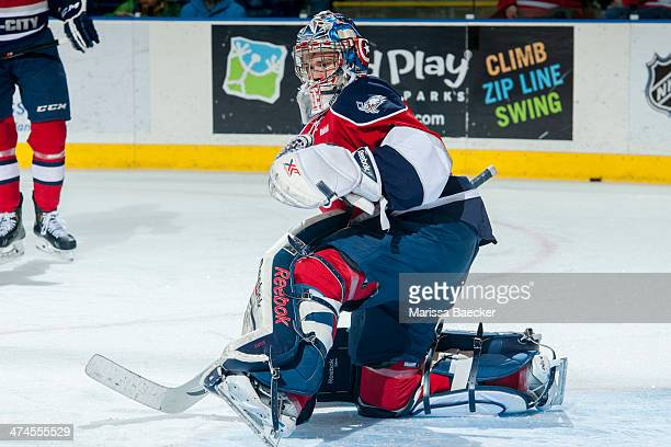Eric Comrie of the Tri City Americans warms up against the Kelowna Rockets on February 19 2014 at Prospera Place in Kelowna British Columbia Canada