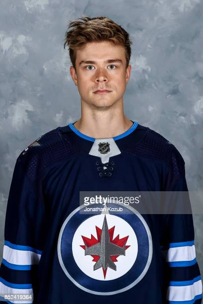 Eric Comrie of the Winnipeg Jets poses for his official headshot for the 20172018 season on September 14 2017 at the Bell MTS Iceplex in Winnipeg...