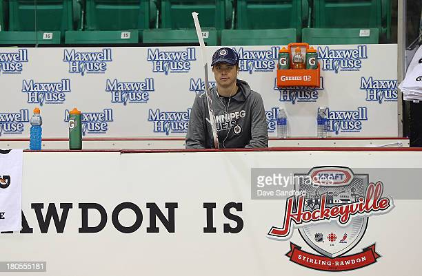 Eric Comrie of the Winnipeg Jets prepares to face the Washington Capitals in their NHL preseason game during Kraft Hockeyville Day 2 at Yardman Arena...