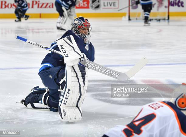 Eric Comrie of the Winnipeg Jets warms up prior to the preseason game against the Edmonton Oilers on September 23 2017 at Rogers Place in Edmonton...