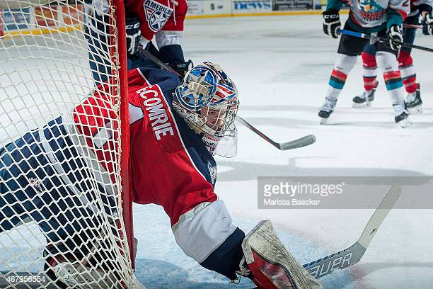 Eric Comrie of TriCity Americans defends the net during the first game of round 1 playoffs against the Kelowna Rockets on March 27 2015 at Prospera...