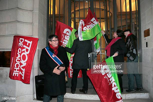 Eric Coquerel national secretary of the Parti de Gauche and militants of the Front de Gauche take part in a demonstration in front of French rating...