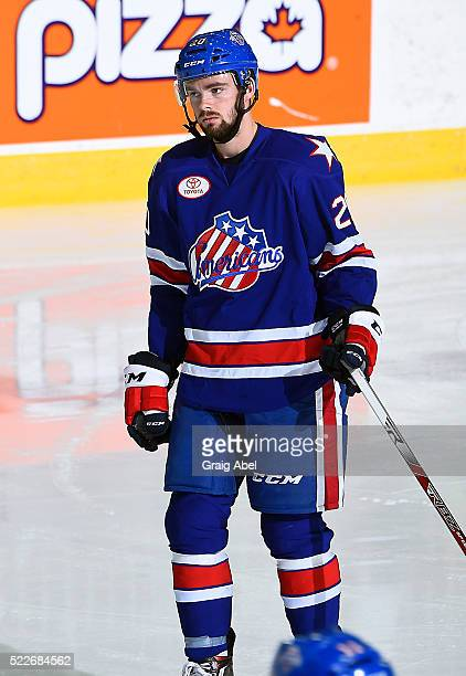 Eric Cornel of the Rochester Americans skates in warmup prior to a game against theToronto Marlies on April 17 at Ricoh Coliseum in Toronto Ontario...