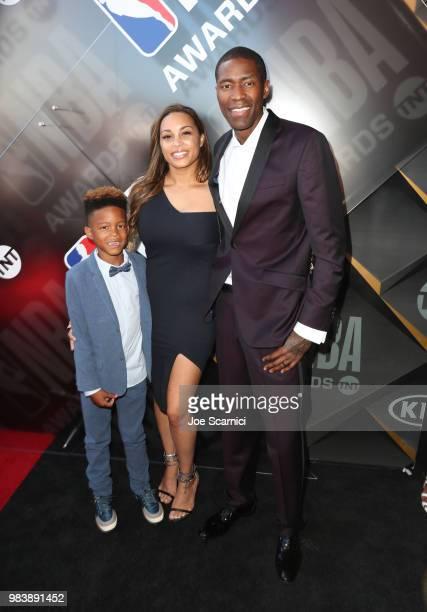 Eric Crawford Tori Lucas and Jamal Crawford attend 2018 NBA Awards at Barkar Hangar on June 25 2018 in Santa Monica California