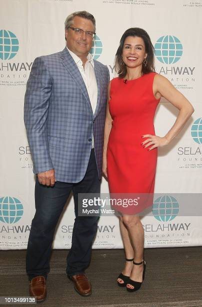 Eric Dahler and Elizabeth Mendez Fisher attend the Selway Foundation Luncheon at Wells Fargo 42nd St on August 8 2018 in New York City