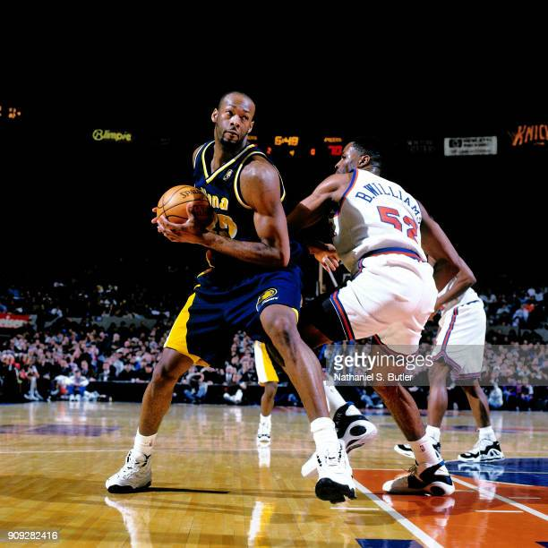 Eric Dampier of the Indiana Pacers drives during a game played on February 16 1997 at Madison Square Garden in New York City NOTE TO USER User...