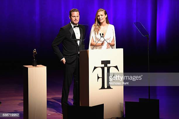 Eric Dane and Josephine Skriver speak onstage at the 2016 Fragrance Foundation Awards presented by Hearst Magazines Show on June 7 2016 in New York...