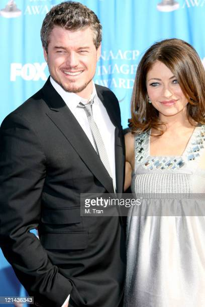 Eric Dane and Rebecca Gayheart during 38th Annual NAACP Image Awards - Arrivals at Shrine Auditorium in Los Angeles, California, United States.