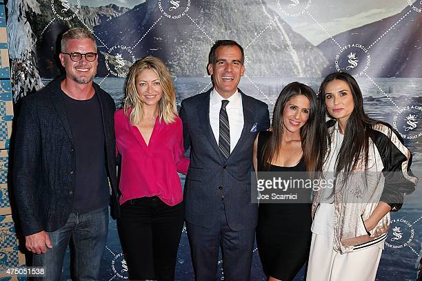 Eric Dane Rebecca Gayheart Mayor Eric Garcetti Soleil Moon Frye and Demi Moore pose for a photo at the Seedling Launch Party at Seedling Headquarters...