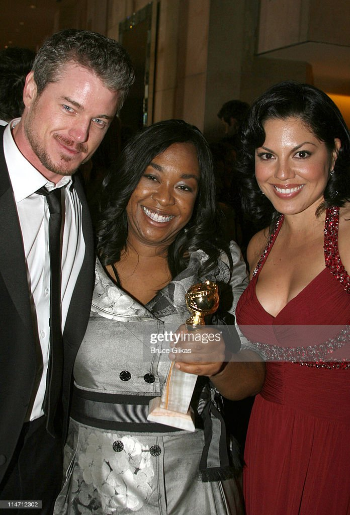 Eric Dane, Shonda Rhimes and Sara Ramirez during Paramount Pictures Hosts 2007 Golden Globe Award After-Party at Beverly Hilton Hotel in Beverly Hills, California, United States.