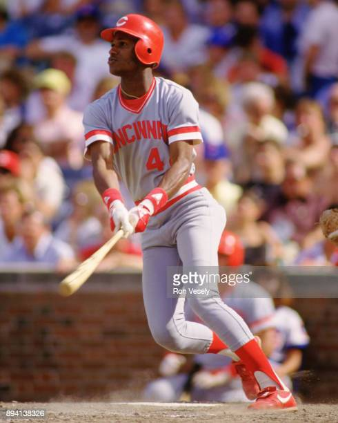 Eric Davis of the Cincinnati Reds bats during an MLB game at Wrigley Field in Chicago Illinois during the 1986 season