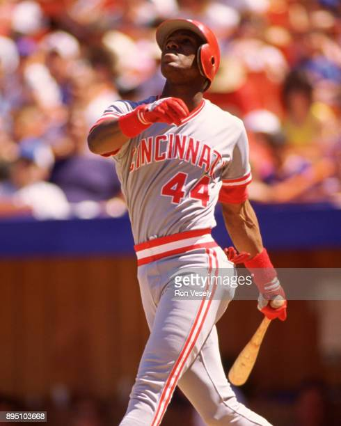 Eric Davis of the Cincinnati Reds bats in an MLB game against the New York Mets during the 1990 season at Shea Stadium in Flushing New York