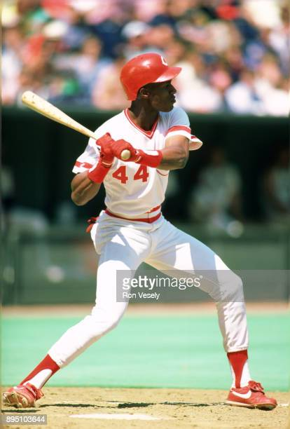 Eric Davis of the Cincinnati Reds bats in an MLB game at Riverfront Stadium in Cincinnati Ohio during the 1987 season