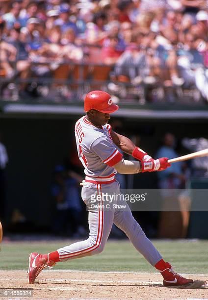 Eric Davis of the Cincinnati Reds circa 1987 bats against the San Diego Padres at Jack Murphy Stadium in San Diego California