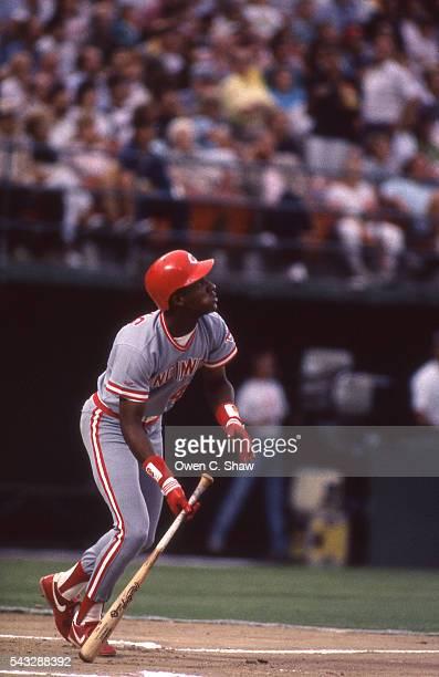 Eric Davis of the Cincinnati Reds circa 1989 bats against the San Diego Padres at Jack Murphy Stadium in San Diego California CA
