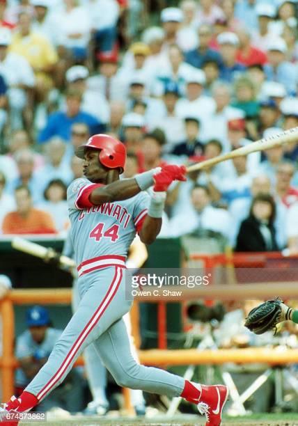 ANAHEIM CA Eric Davis of the Cincinnati Reds circa 1989 bats at the 1989 MLB All Star game at the Big A in Anaheim California