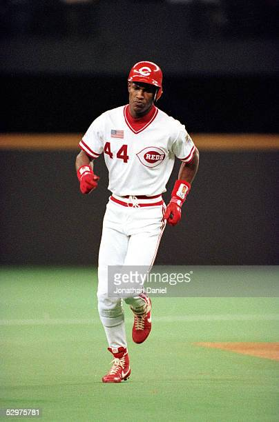 Eric Davis of the Cincinnati Reds circles the bases after hitting a two run home run during Game one of the 1990 World Series against the Oakland...