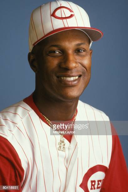Eric Davis of the Cincinnati Reds poses for photos during media day on February 25 1996 at Plant City Stadium in Plant City Florida