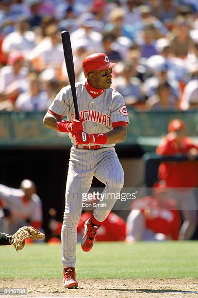 Eric Davis of the Cincinnati Reds steps into a pitch during a game against the Giants at Candlestick Park on August 6, 1996 in San Francisco,...