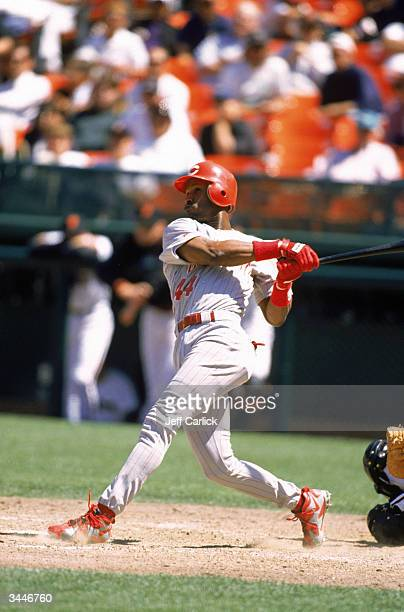Eric Davis of the Cincinnati Reds swings at a pitch during a game against the Giants at Candlestick Park on August 6 1996 in San Francisco California...